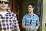 """**EXCLUSIVE** Taylor Lautner and his upcoming """"Abduction"""" co-star Lily Collins leave a restaurant together amidst rumors of the two dating off-screen"""